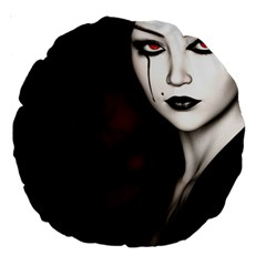 Goth Girl Red Eyes Large 18  Premium Round Cushions
