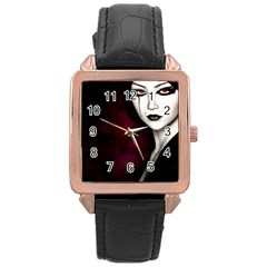 Goth Girl Red Eyes Rose Gold Leather Watch