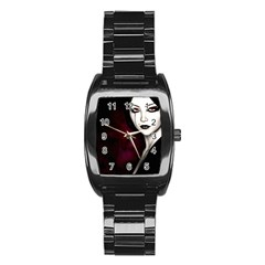 Goth Girl Red Eyes Stainless Steel Barrel Watch