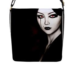 Goth Girl Red Eyes Flap Messenger Bag (L)