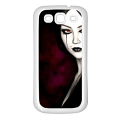 Goth Girl Red Eyes Samsung Galaxy S3 Back Case (White)