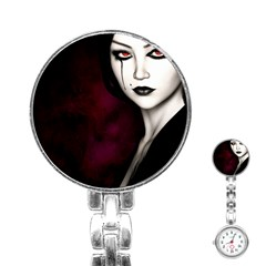 Goth Girl Red Eyes Stainless Steel Nurses Watch