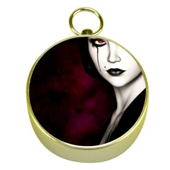Goth Girl Red Eyes Gold Compasses