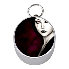 Goth Girl Red Eyes Mini Silver Compasses