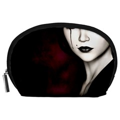 Goth Girl Red Eyes Accessory Pouches (Large)