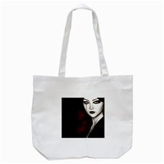 Goth Girl Red Eyes Tote Bag (White)