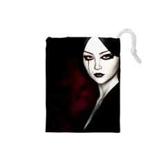 Goth Girl Red Eyes Drawstring Pouches (Small)