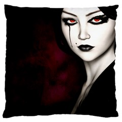 Goth Girl Red Eyes Large Flano Cushion Case (Two Sides)