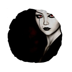 Goth Girl Red Eyes Standard 15  Premium Flano Round Cushions