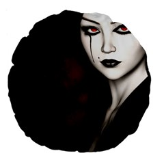 Goth Girl Red Eyes Large 18  Premium Flano Round Cushions