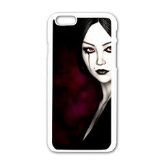 Goth Girl Red Eyes Apple iPhone 6/6S White Enamel Case