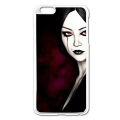 Goth Girl Red Eyes Apple iPhone 6 Plus/6S Plus Enamel White Case