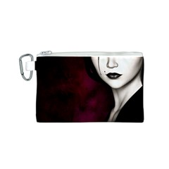 Goth Girl Red Eyes Canvas Cosmetic Bag (S)