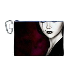 Goth Girl Red Eyes Canvas Cosmetic Bag (M)