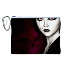 Goth Girl Red Eyes Canvas Cosmetic Bag (L)