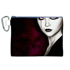 Goth Girl Red Eyes Canvas Cosmetic Bag (XL)