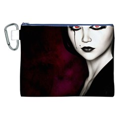 Goth Girl Red Eyes Canvas Cosmetic Bag (XXL)