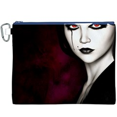 Goth Girl Red Eyes Canvas Cosmetic Bag (XXXL)