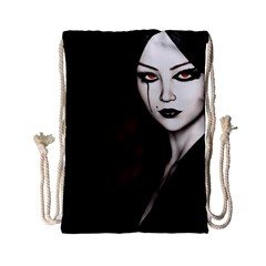 Goth Girl Red Eyes Drawstring Bag (Small)