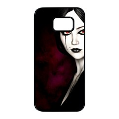 Goth Girl Red Eyes Samsung Galaxy S7 edge Black Seamless Case