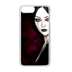 Goth Girl Red Eyes Apple iPhone 7 Plus White Seamless Case
