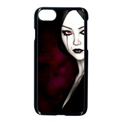 Goth Girl Red Eyes Apple iPhone 7 Seamless Case (Black)