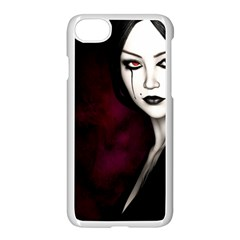 Goth Girl Red Eyes Apple iPhone 7 Seamless Case (White)
