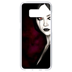 Goth Girl Red Eyes Samsung Galaxy S8 White Seamless Case