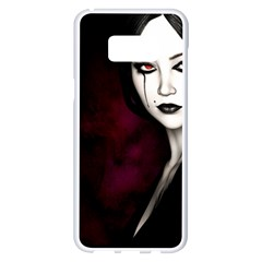 Goth Girl Red Eyes Samsung Galaxy S8 Plus White Seamless Case