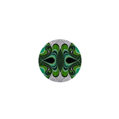 Fractal Art Green Pattern Design 1  Mini Buttons