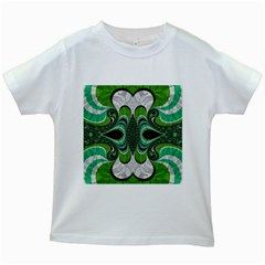 Fractal Art Green Pattern Design Kids White T-Shirts
