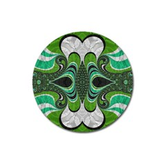 Fractal Art Green Pattern Design Magnet 3  (Round)