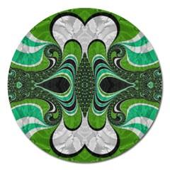 Fractal Art Green Pattern Design Magnet 5  (Round)