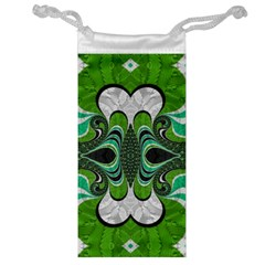 Fractal Art Green Pattern Design Jewelry Bag
