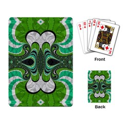 Fractal Art Green Pattern Design Playing Card
