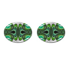Fractal Art Green Pattern Design Cufflinks (oval)