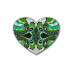Fractal Art Green Pattern Design Rubber Coaster (heart)