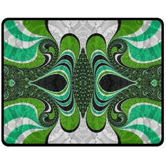 Fractal Art Green Pattern Design Fleece Blanket (Medium)