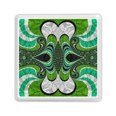 Fractal Art Green Pattern Design Memory Card Reader (square)