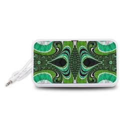 Fractal Art Green Pattern Design Portable Speaker (white)