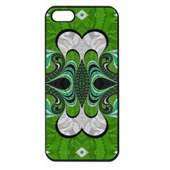Fractal Art Green Pattern Design Apple iPhone 5 Seamless Case (Black)