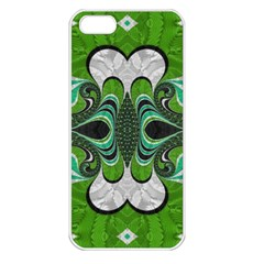 Fractal Art Green Pattern Design Apple iPhone 5 Seamless Case (White)