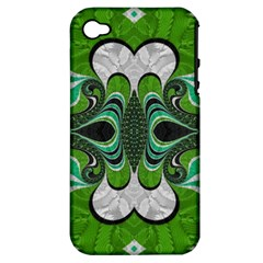 Fractal Art Green Pattern Design Apple Iphone 4/4s Hardshell Case (pc+silicone)