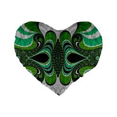 Fractal Art Green Pattern Design Standard 16  Premium Heart Shape Cushions