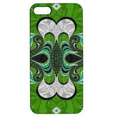 Fractal Art Green Pattern Design Apple Iphone 5 Hardshell Case With Stand