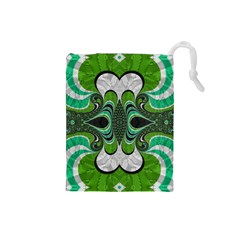 Fractal Art Green Pattern Design Drawstring Pouches (small)