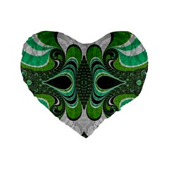Fractal Art Green Pattern Design Standard 16  Premium Flano Heart Shape Cushions
