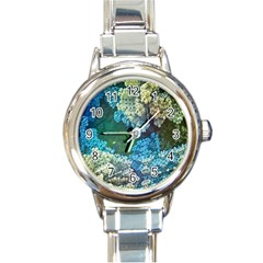 Fractal Formula Abstract Backdrop Round Italian Charm Watch