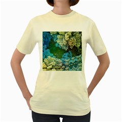 Fractal Formula Abstract Backdrop Women s Yellow T Shirt