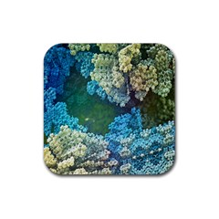 Fractal Formula Abstract Backdrop Rubber Square Coaster (4 Pack)